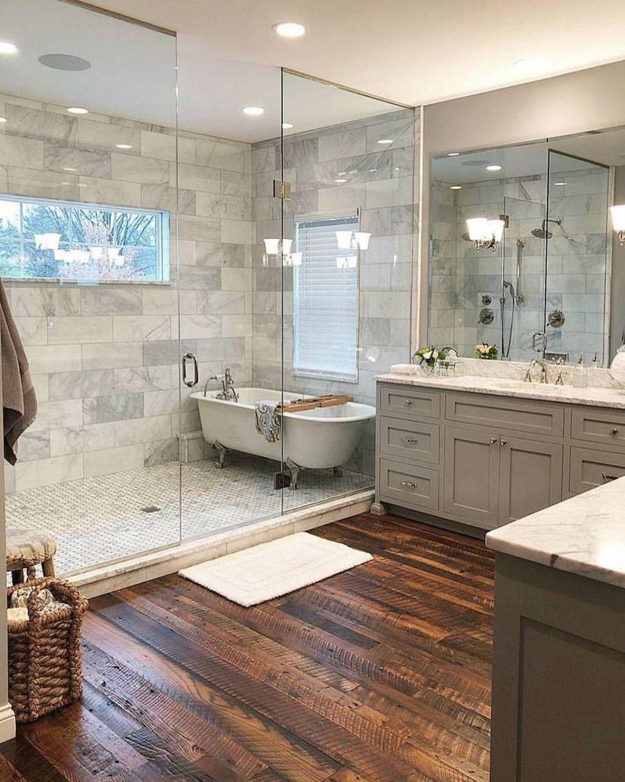 Wet room bathtub in shower