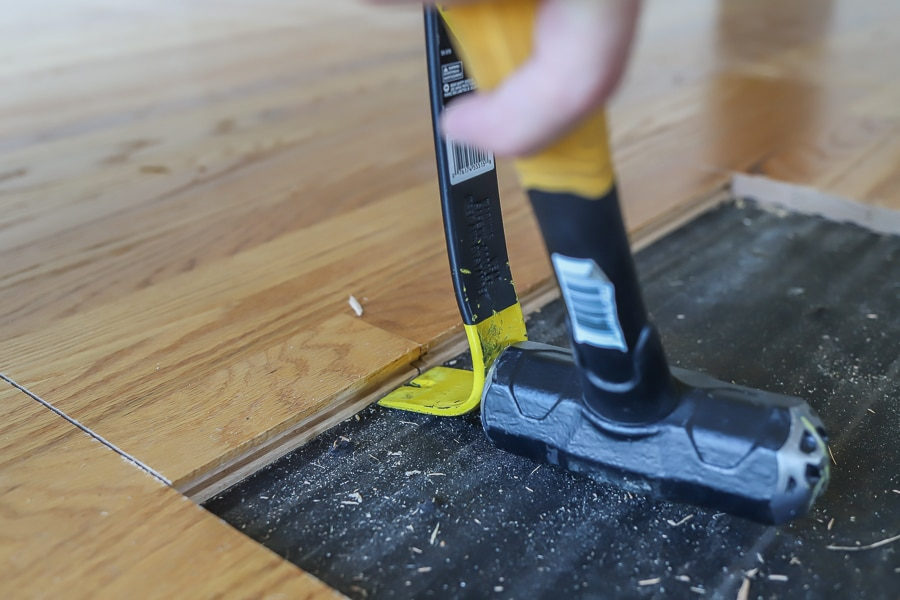 How to pry up hardwood flooring that's been nailed down