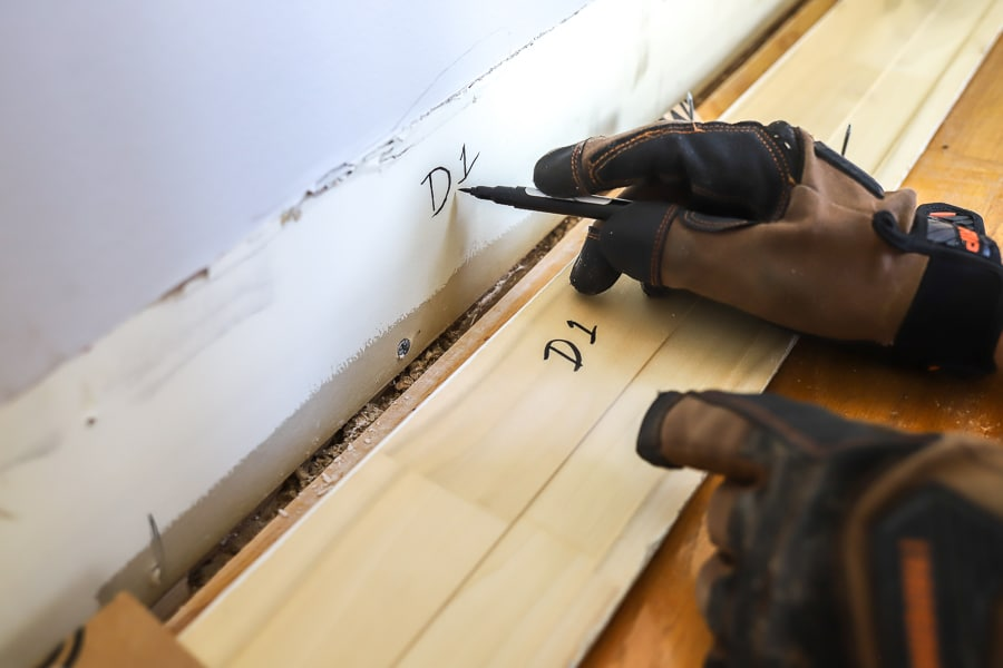 Label baseboards for easy re-installation