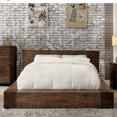 King modern platform bed with slim storage drawer