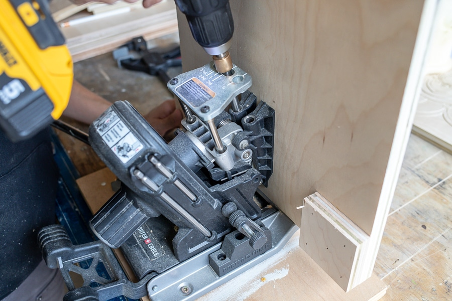 Drilling pocket holes into plywood