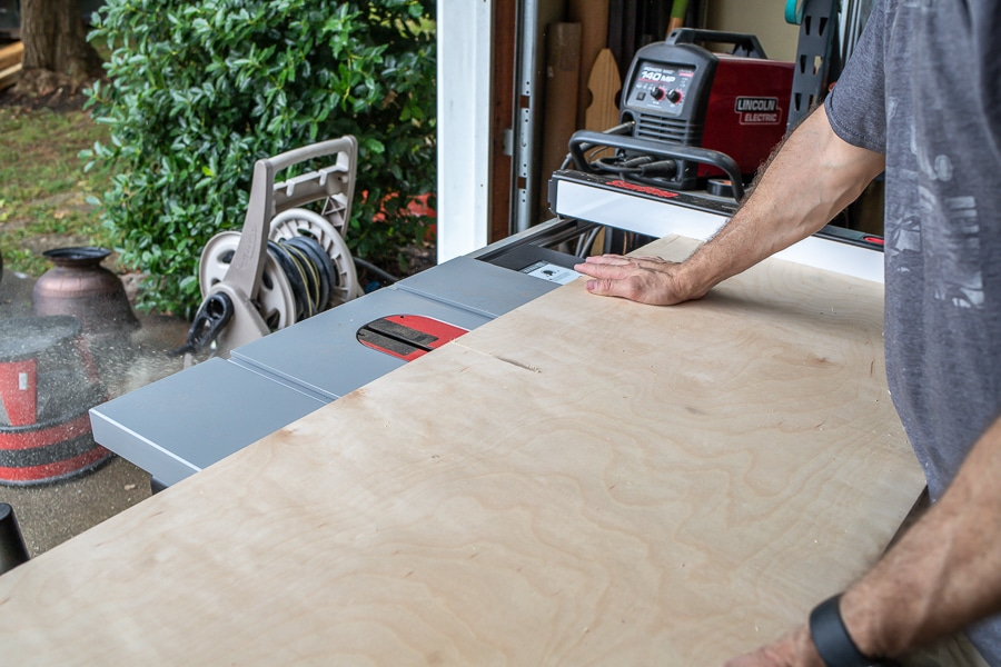 Cutting plywood on a table saw