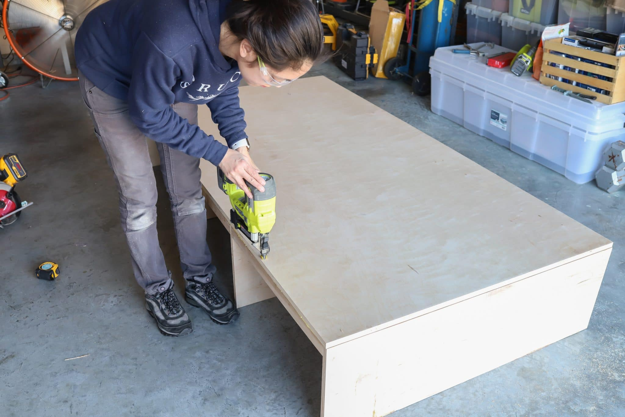 DIY kids platform bed with storage drawers