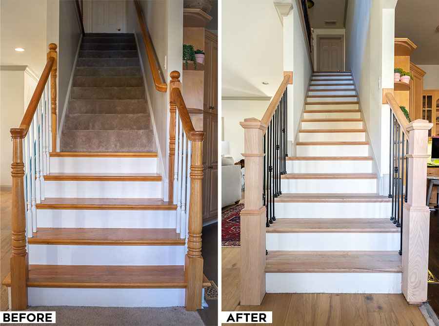 Staircase makeover renovation - before and after photos! What a transformation!