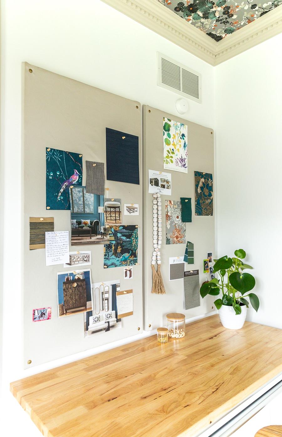 How to make a DIY fabric bulletin board mood board inspiration board pin board