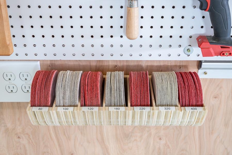 DIY sanding disc organization