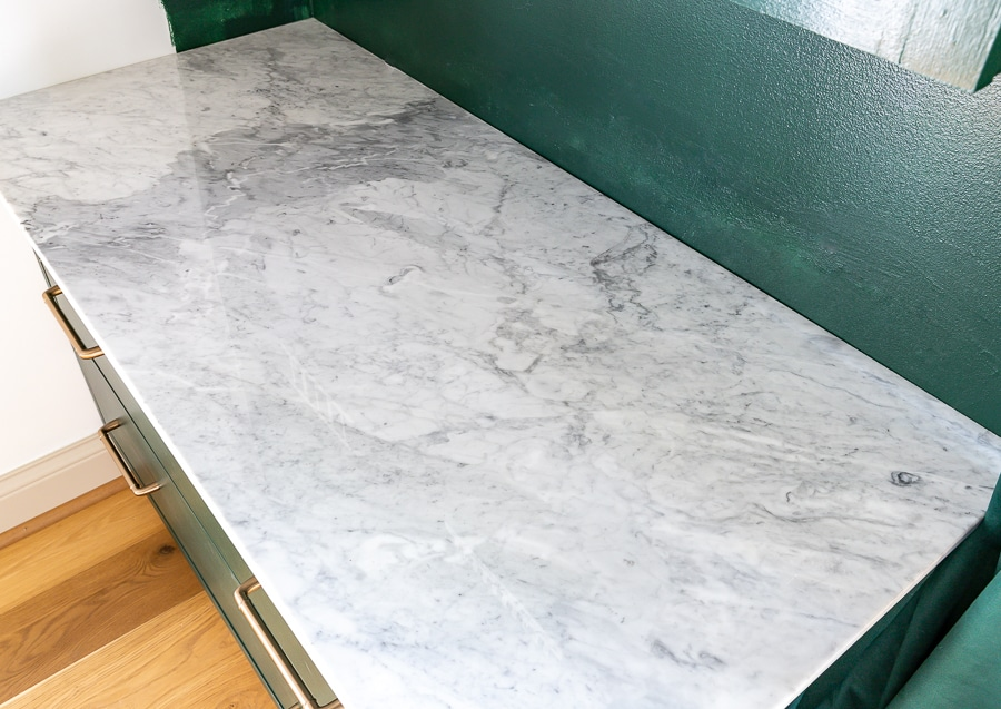 How to add marble countertops to a cabinet