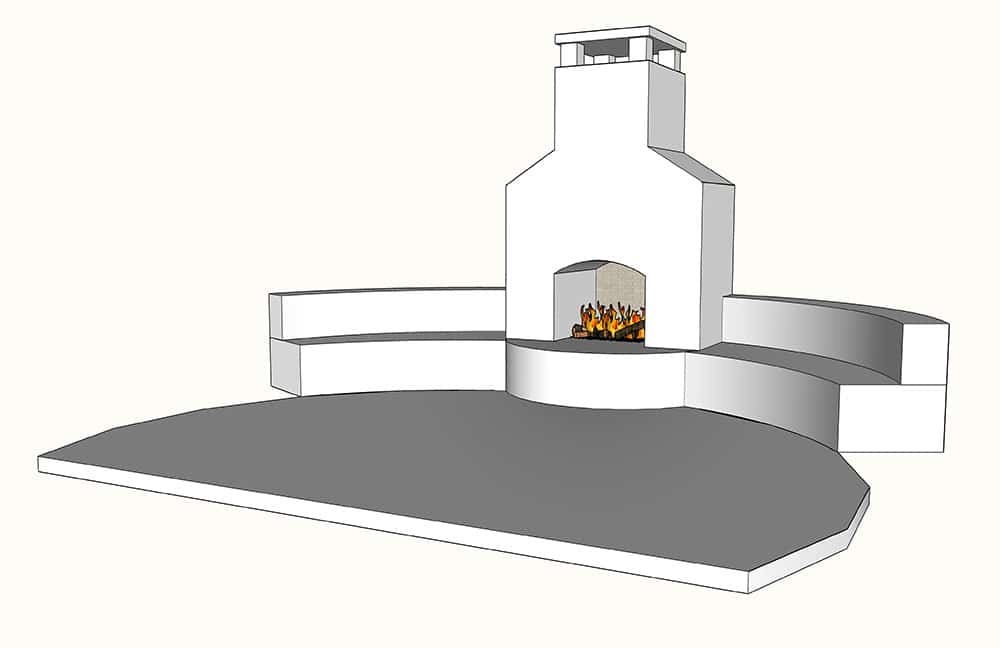 Outdoor Fireplace with Bench Seating - the design plans!