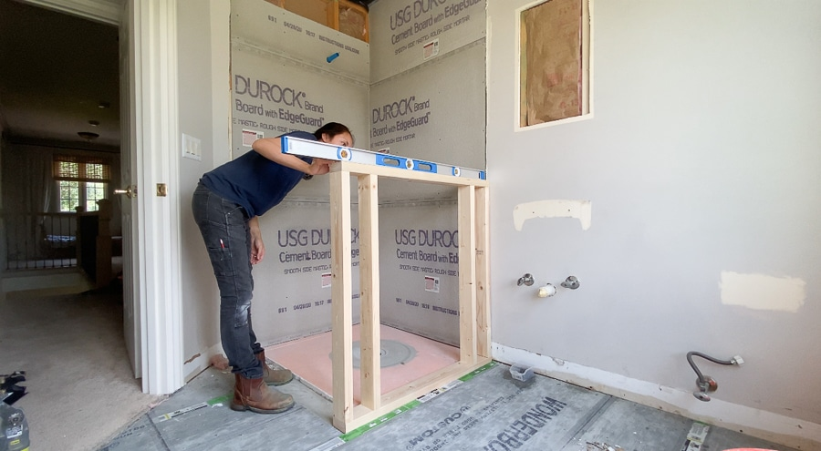 Framing a pony wall in the bathroom