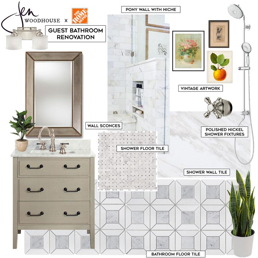 classic, timeless, yet modern bathroom design board