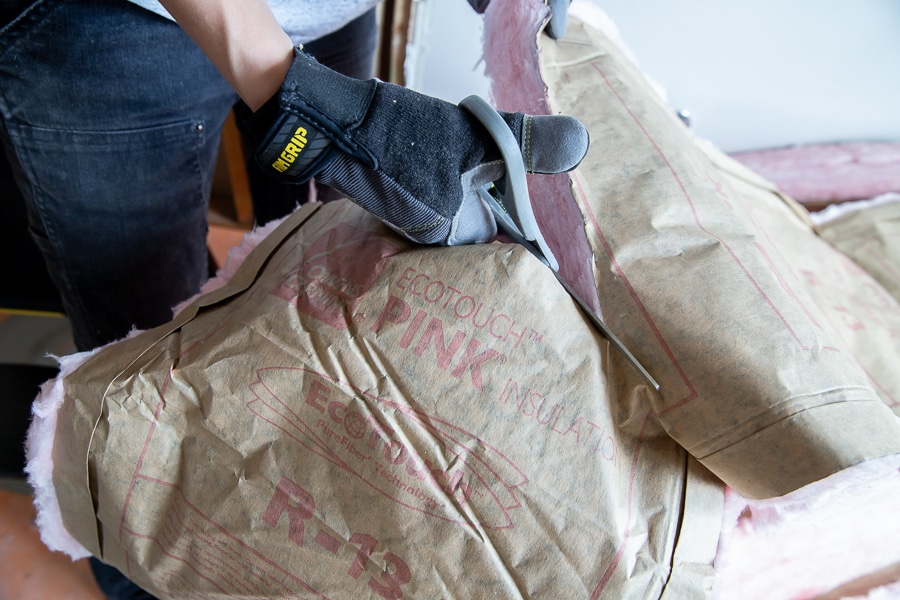 Cut insulation easily with a pair of scissors or a utility knife