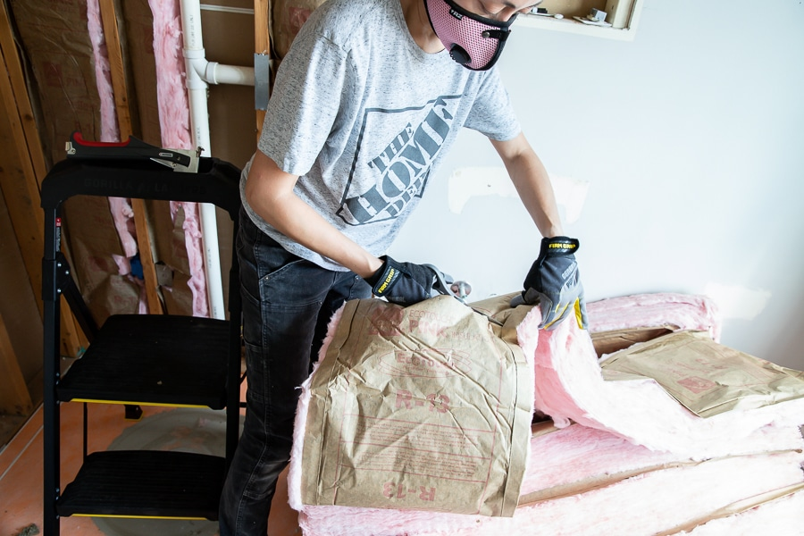 Cut insulation with scissors or a utility knife