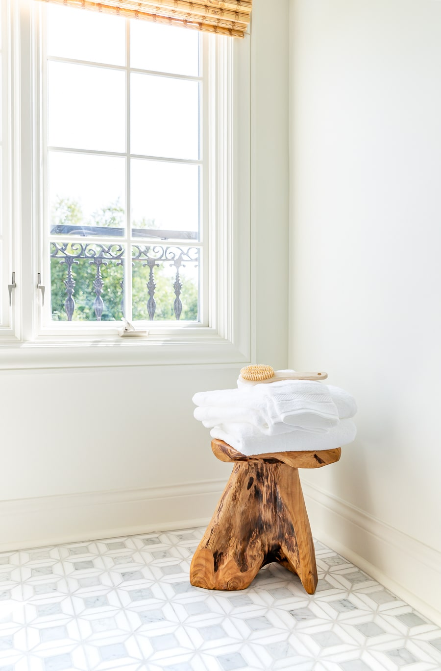 Guest bathroom renovation live edge bath stool