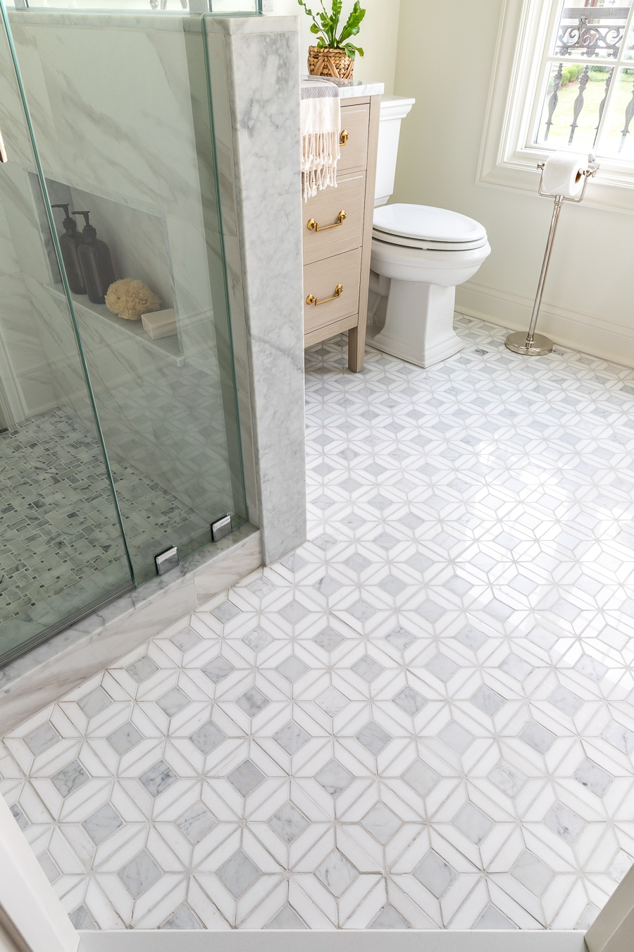 Marble mosaic tile in small bathroom