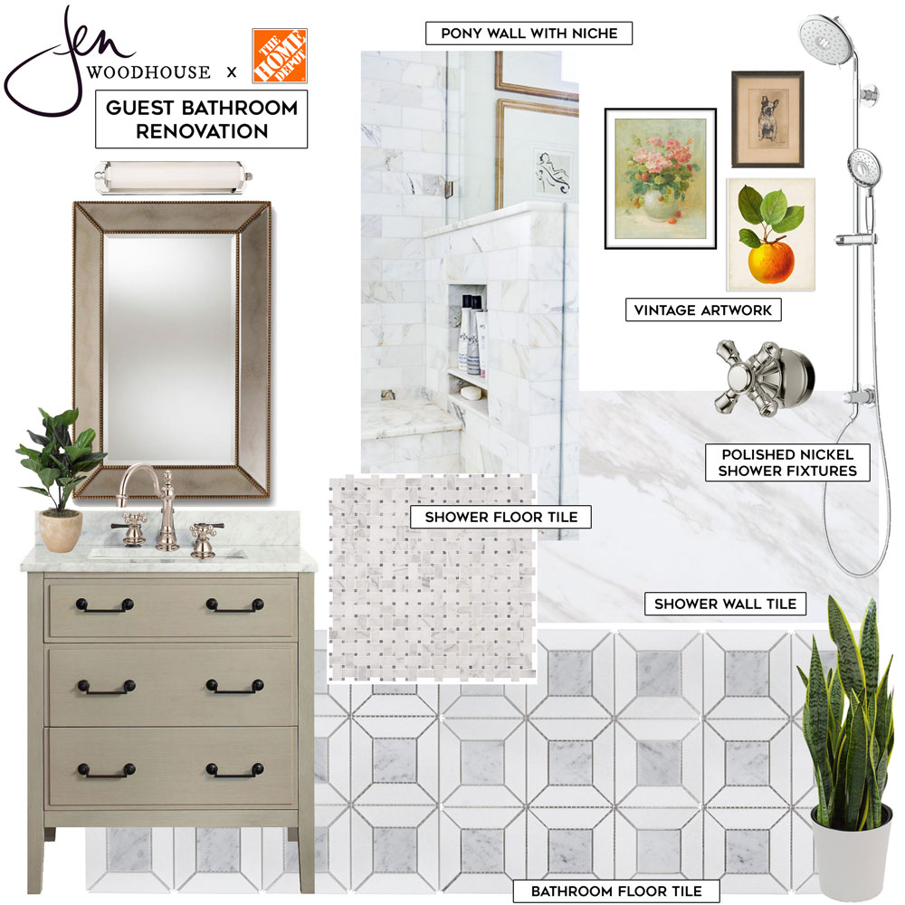 Small guest bathroom renovation design board - marble mosaic tile, large format tile, warm wood vanity, polished nickel finishes, and vintage accents