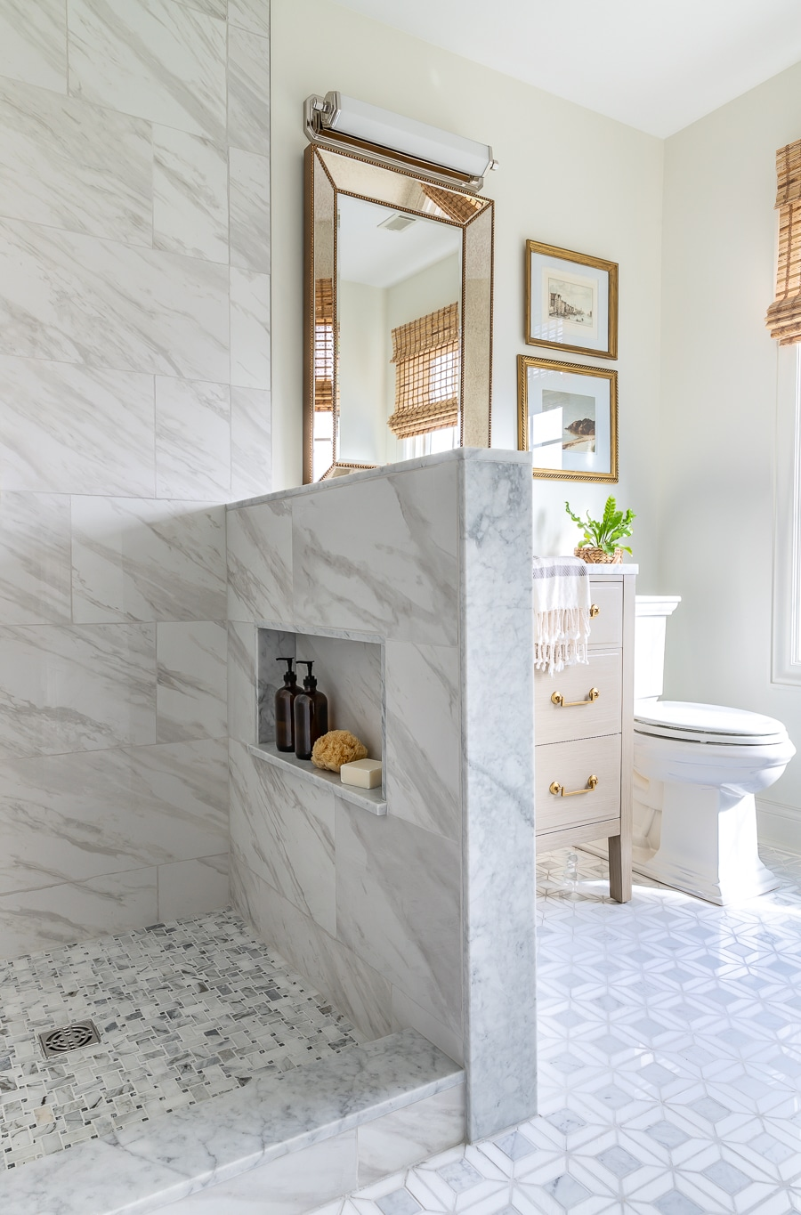 small bathroom renovation with marble mosaic tile and large format tile
