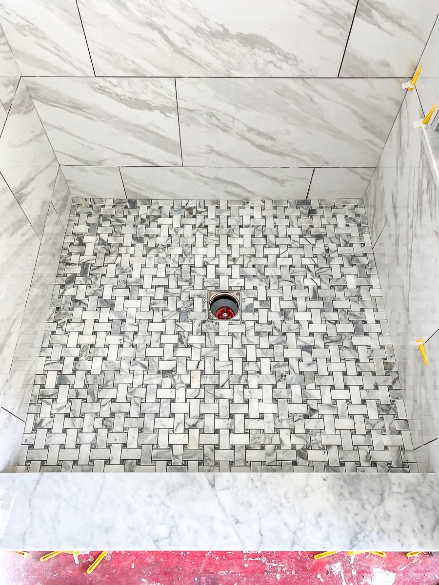 Installing marble mosaic tile in the shower