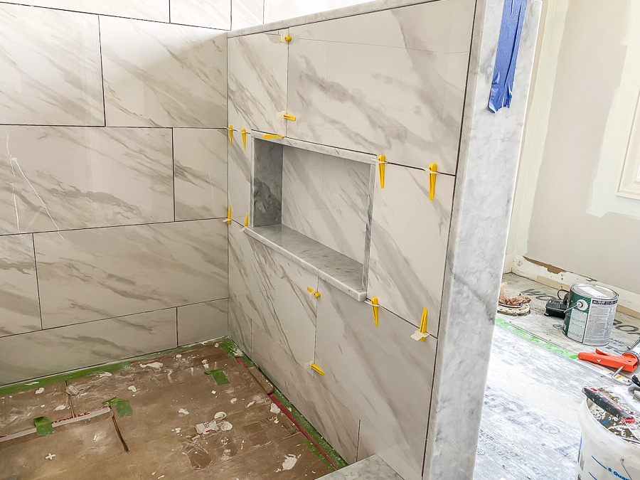 Tiling a shower niche in a pony wall