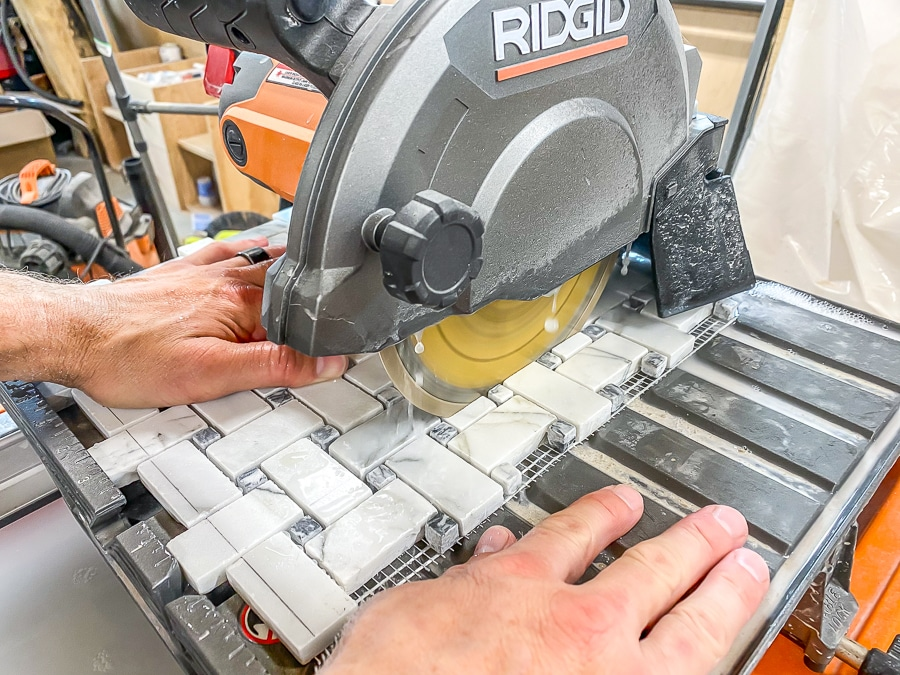 Cutting marble mosaic tile with a tile saw