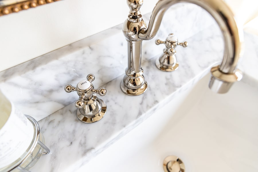 Polished nickel vintage bathroom sink faucet