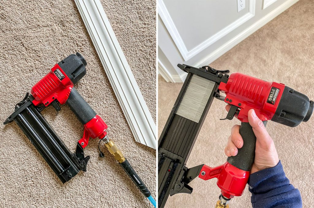 Use a pneumatic brad nailer to nail and glue molding and trim to drywall