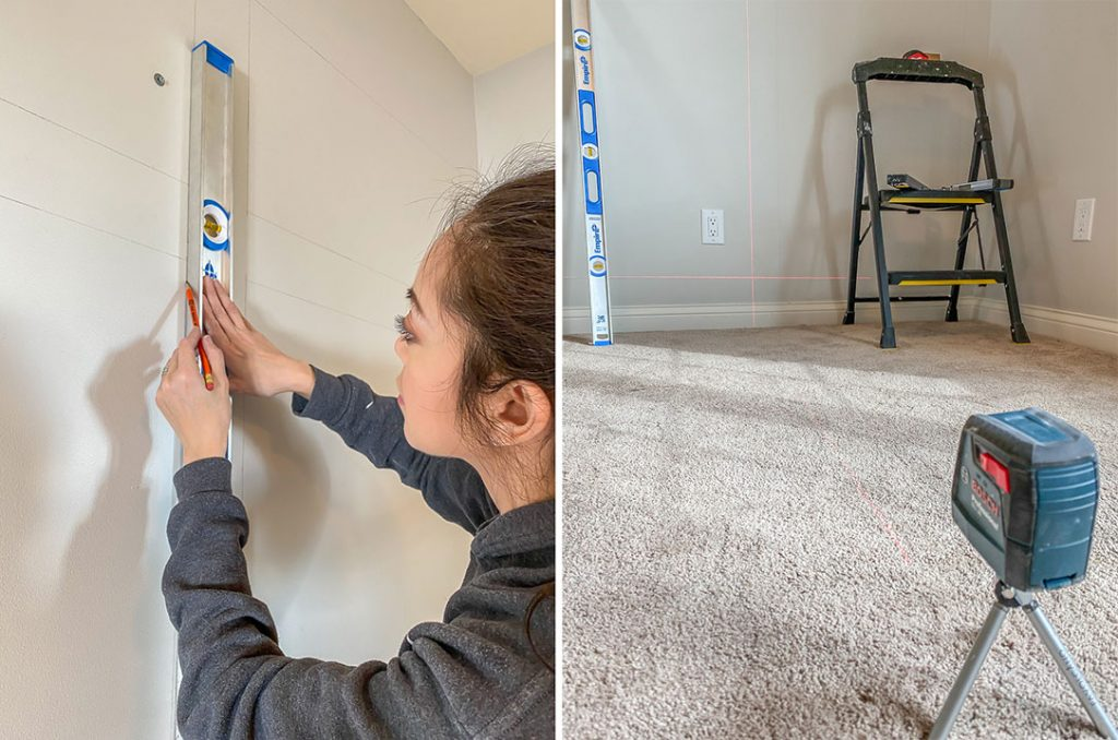 Use a level to make sure your lines are plumb and straight when installing wainscoting molding on the wall