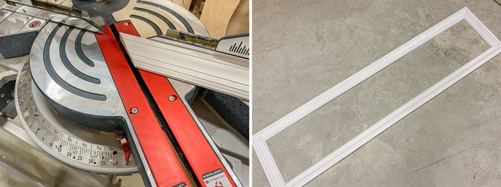 Set the miter saw to 45 degrees to make mitered cuts for trim and wainscoting molding