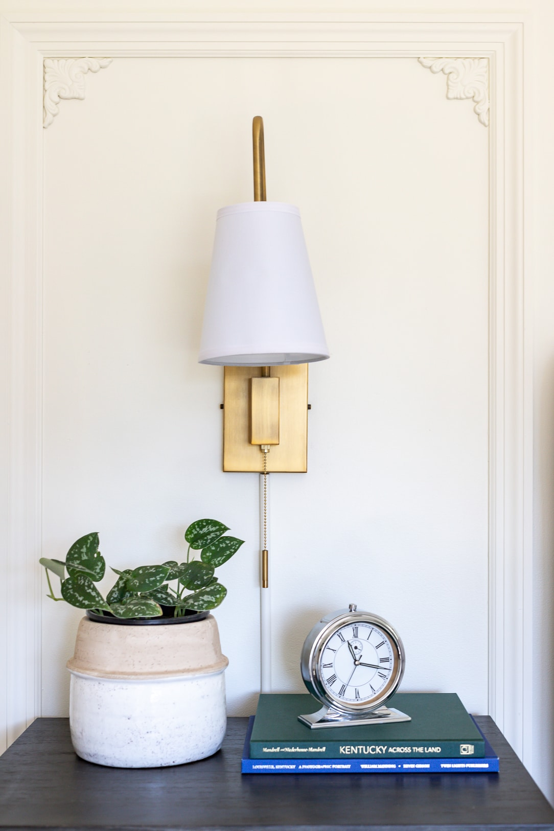 plug-in wall sconces in the guest bedroom