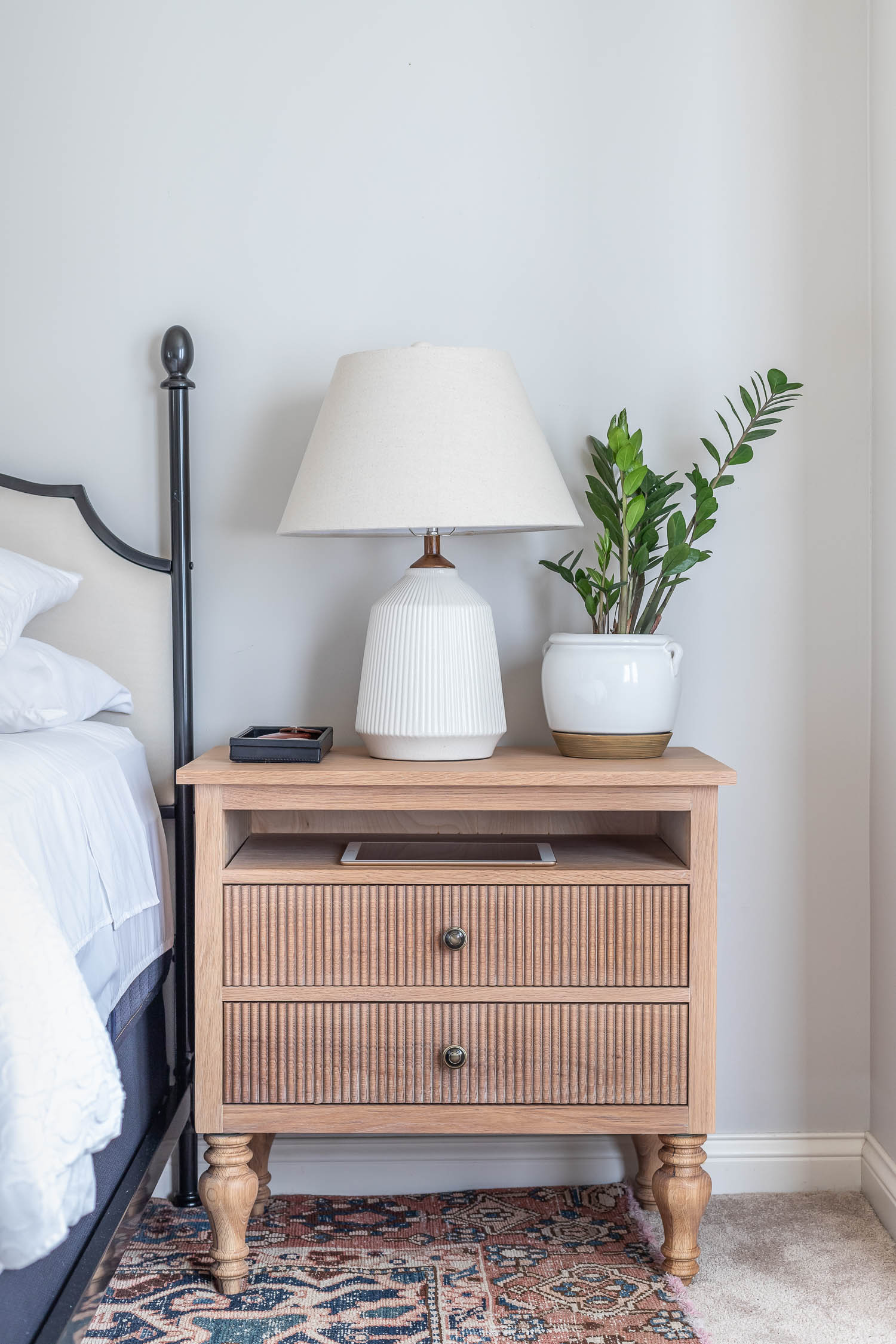 Beautiful Gustavian style nightstands built from scratch! DIY project tutorial and plans by Jen Woodhouse