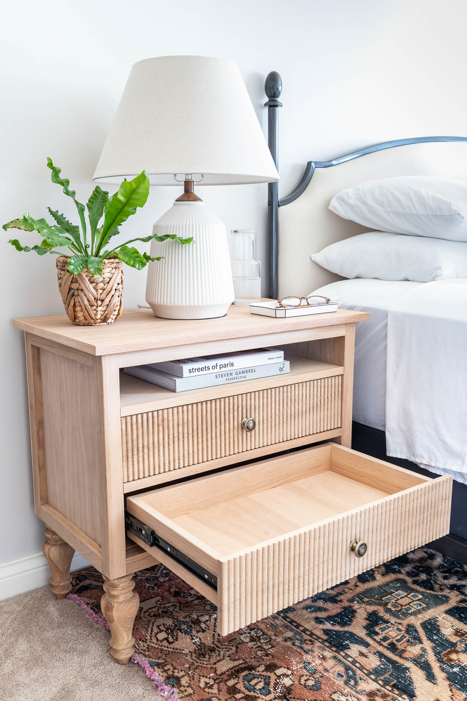 French country / Swedish Gustavian bedside tables - white oak nightstands with beaded drawers