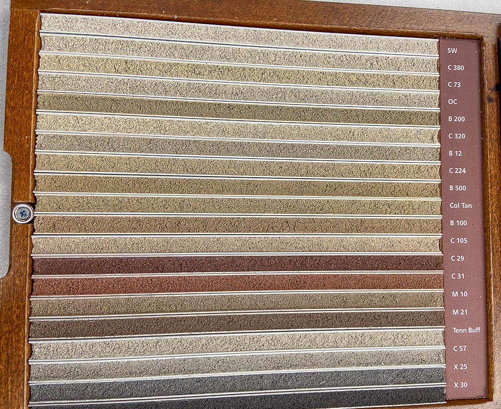 Grout samples for manufactured stone veneer