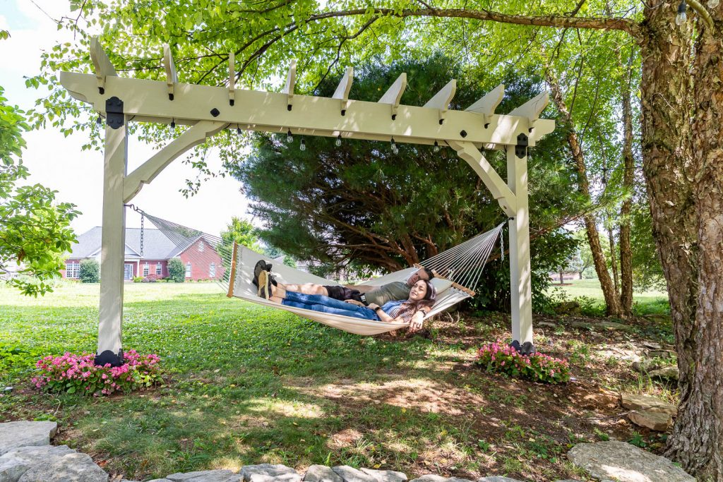 how to build a diy pergola hammock stand and outdoor projector screen