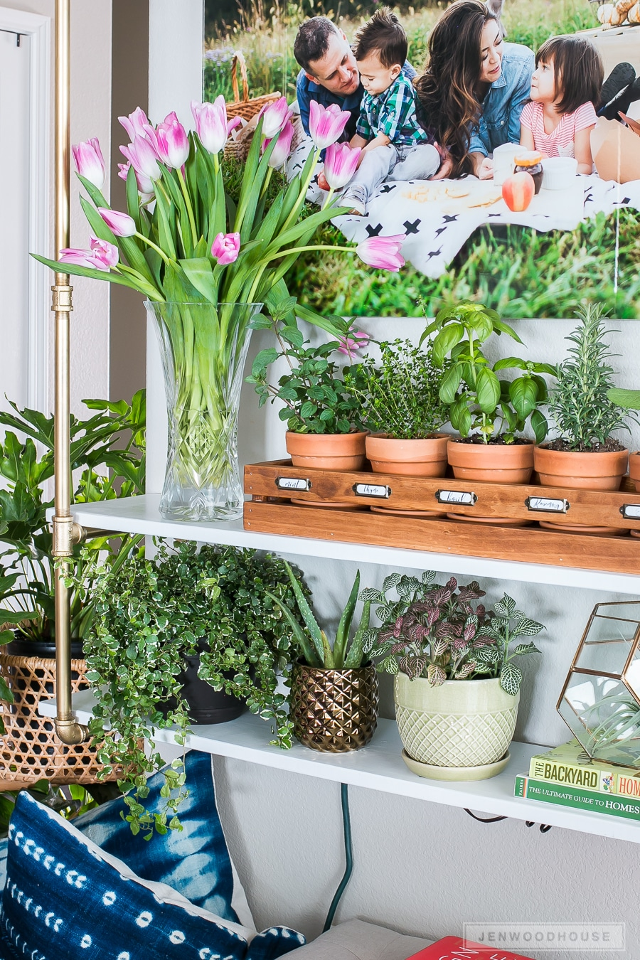Add a fresh herb garden and a vase of tulips to decorate for Spring