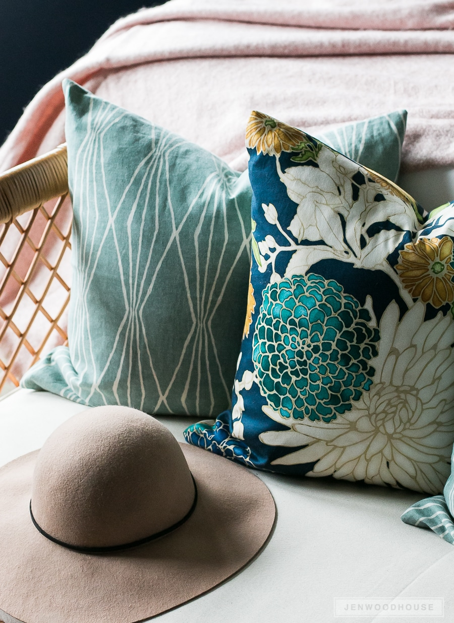Switch out your throw pillows to add simple, seasonal touches to your space.