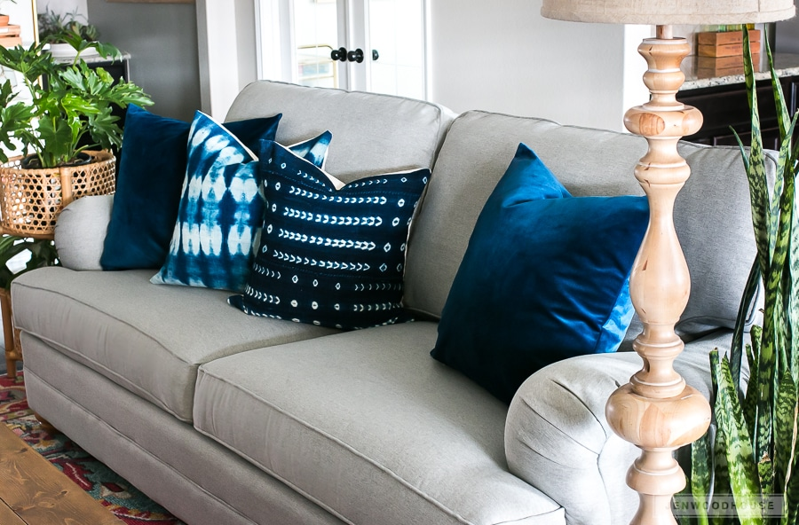Switch out your throw pillows and add simple seasonal touches to your home.