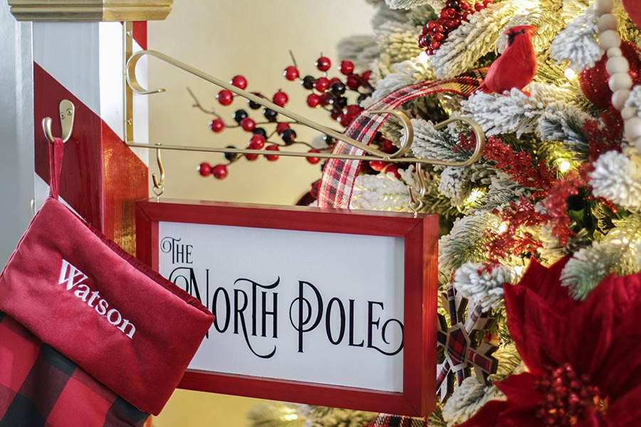 Christmas Stocking Holder Stand.North Pole Christmas Stocking Holder