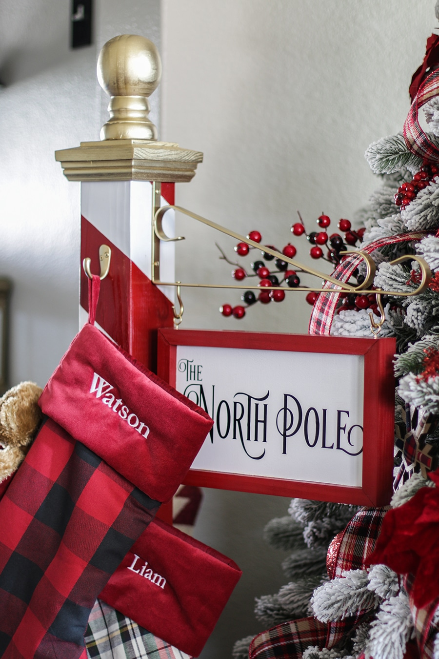 diy north pole christmas stocking holder - North Pole Christmas Decorations