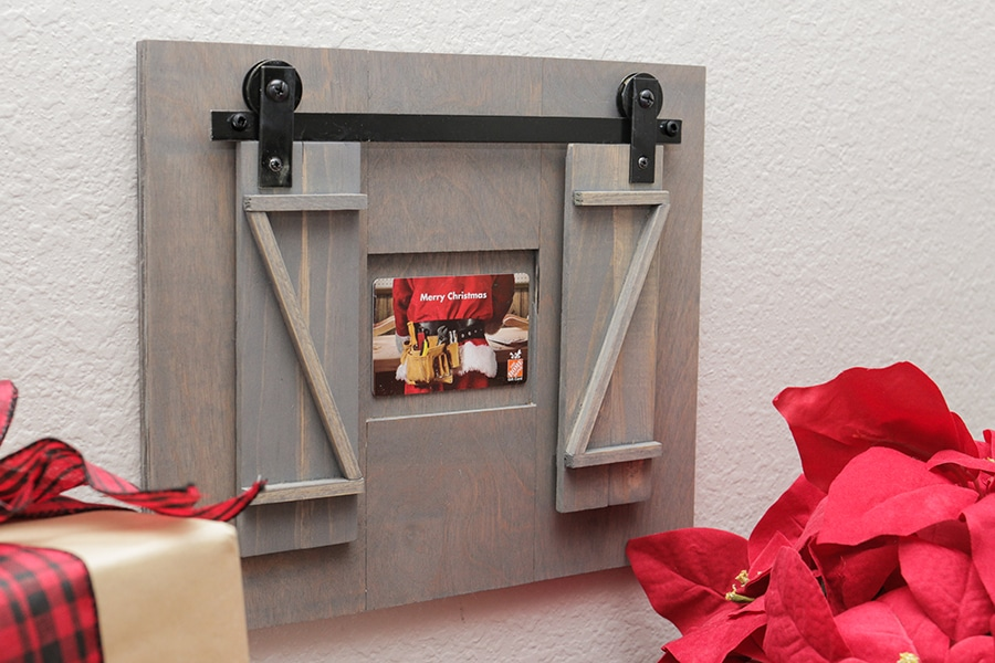 DIY barn door gift card holder