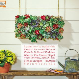 Attend the DIH Workshop at The Home Depot and learn how to make a Vertical Succulent Garden