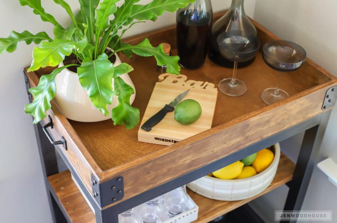 How to build a DIY bar cart. Love the rustic industrial look!