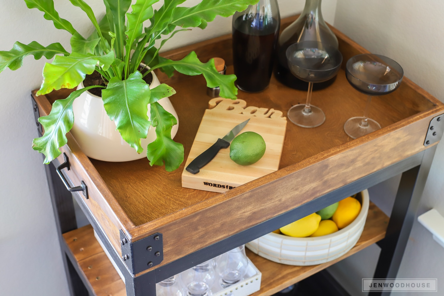 How To Build A Diy Bar Cart With Rustic Look