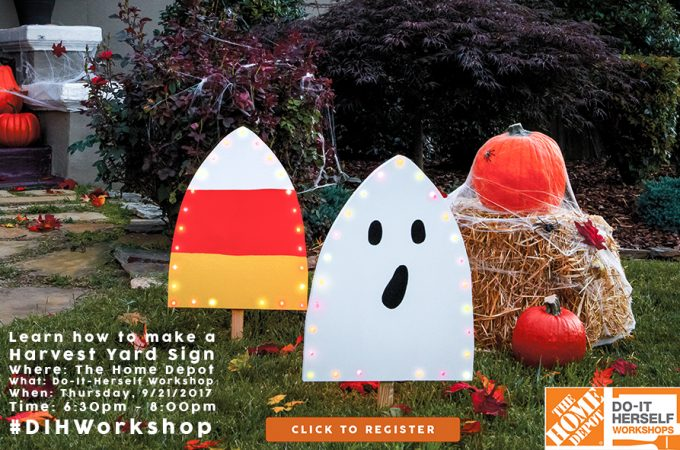 Attend The Home Depot's DIH Workshop and learn how to make a Harvest Yard Sign