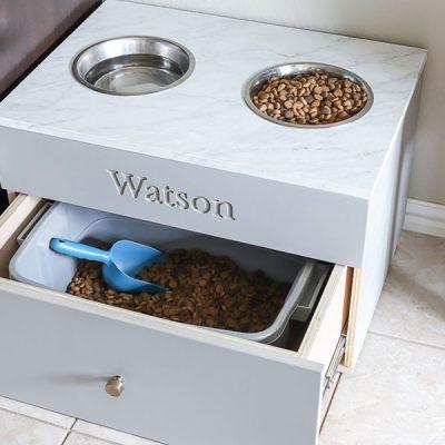 How to make a DIY large dog food station pet feeding station dog bowl