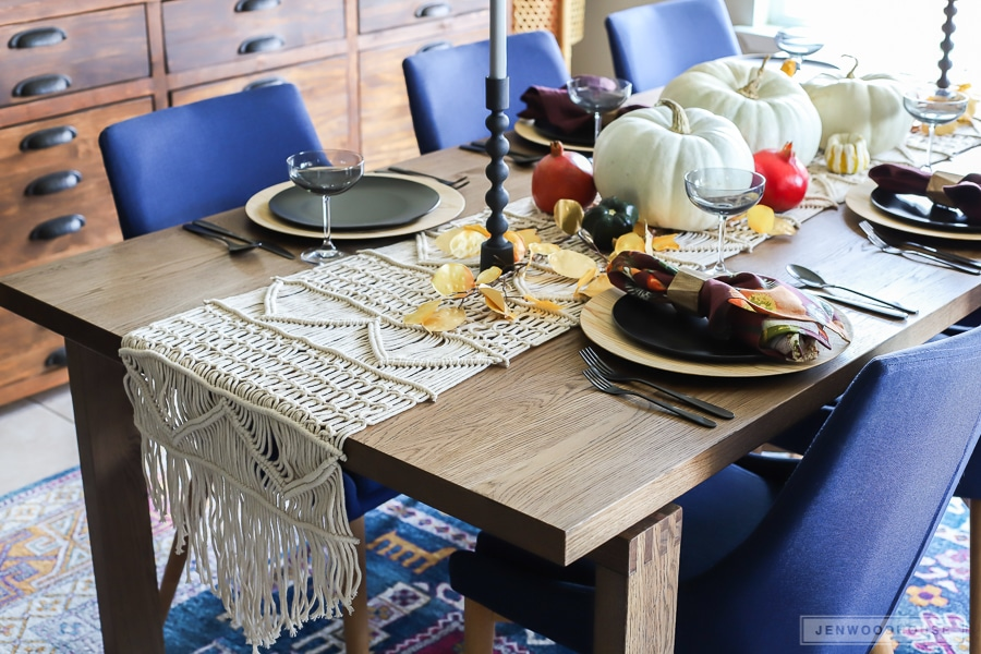 Modern midcentury boho eclectic dining room decorated for Fall