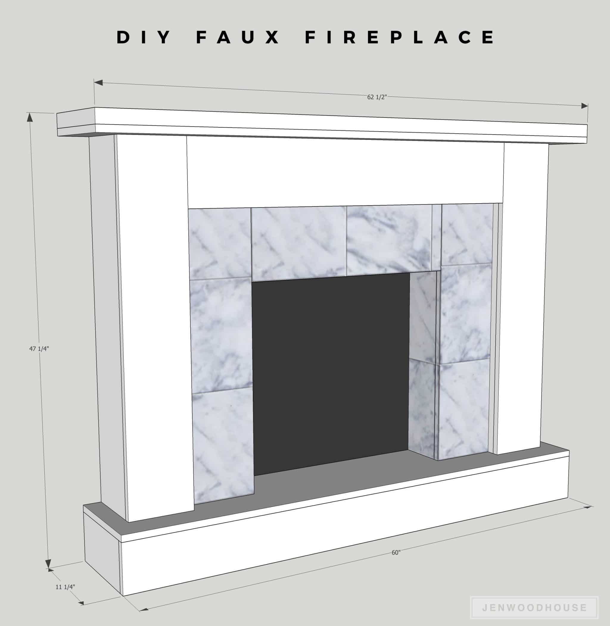 DIY Faux Fireplace Featuring Smart Tiles Adhesive Tiles - Learn how to build a DIY faux fireplace with peel-and-stick tiles! A renter-friendly solution!