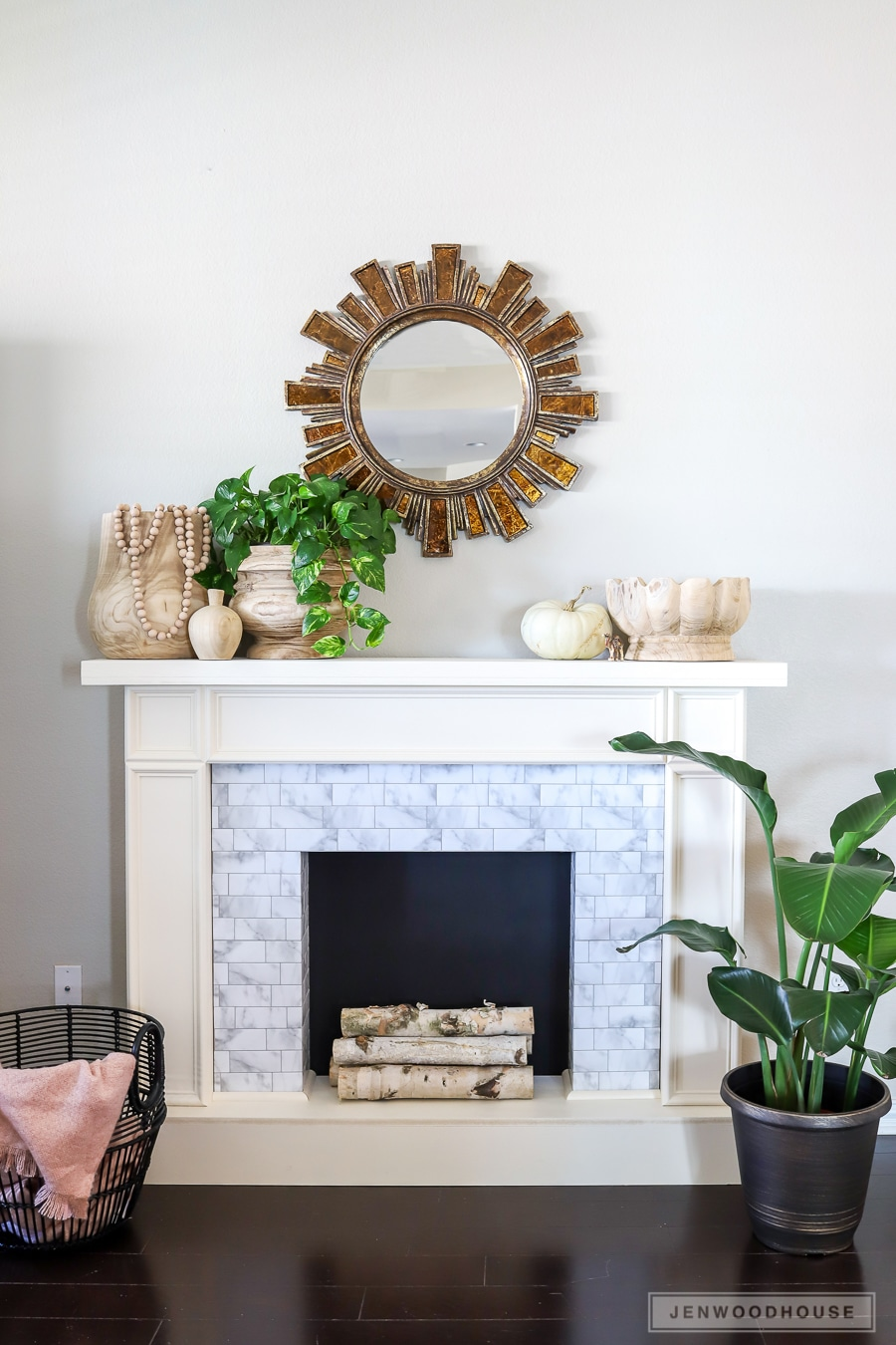 DIY Faux Fireplace Featuring Smart Tiles Adhesive Tiles