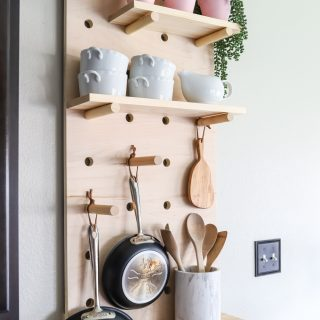 How to make a DIY pot rack from oversized pegboard shelves
