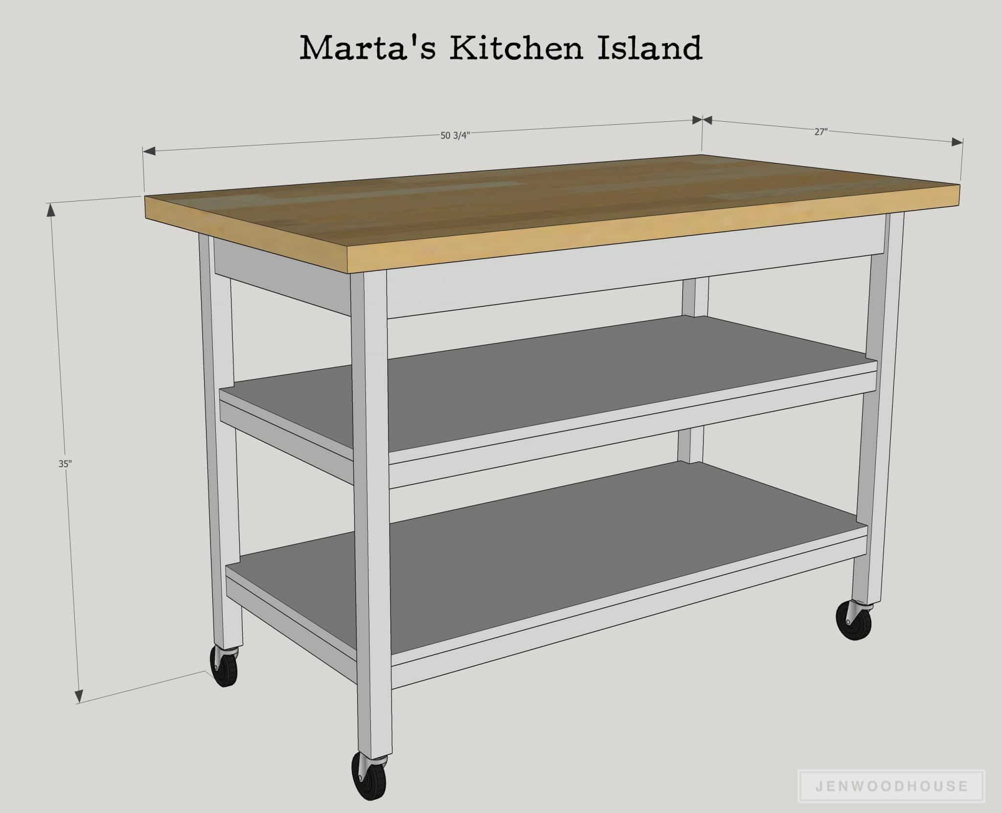 How to build a DIY rolling kitchen island