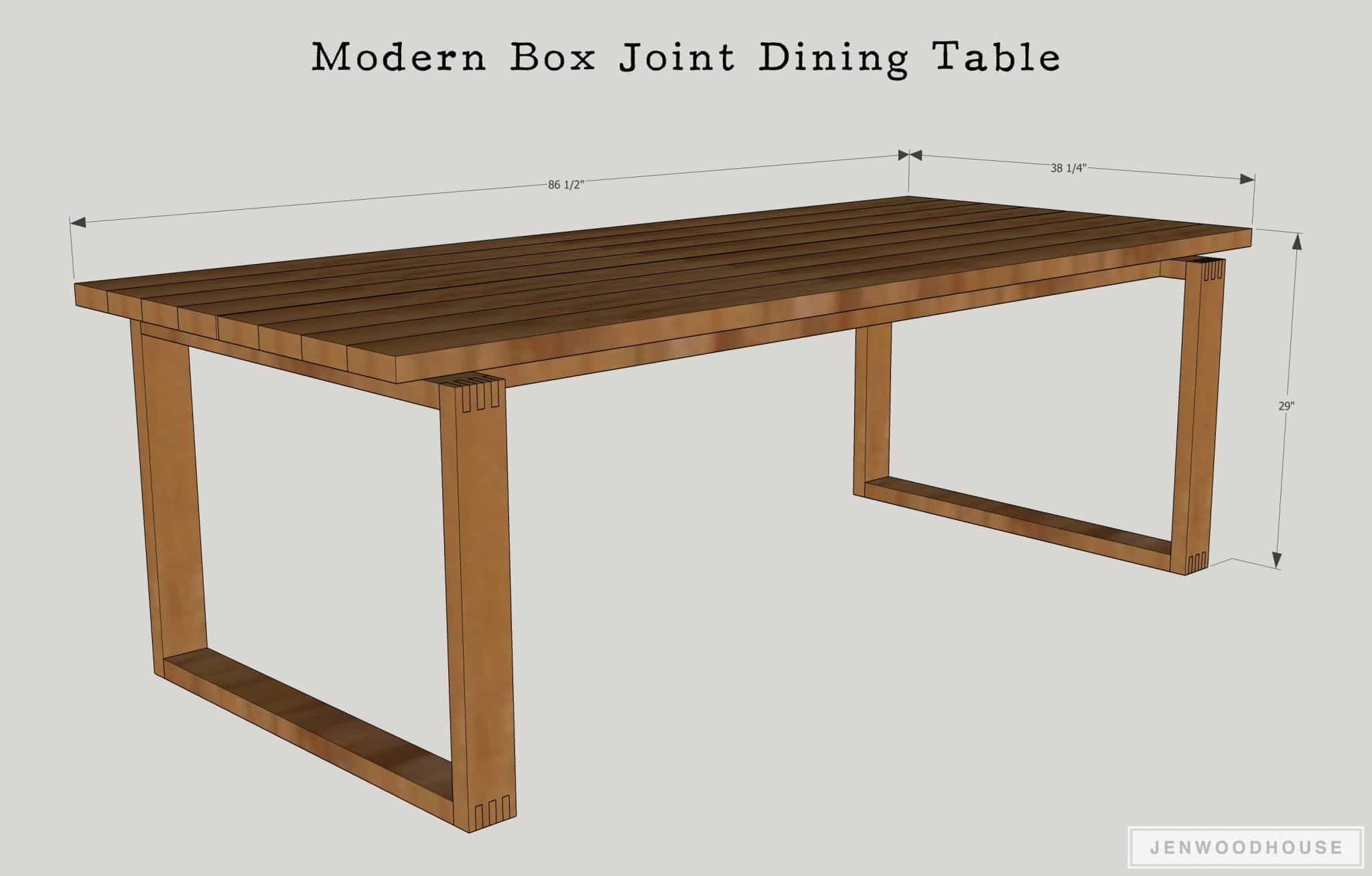 How to build a Modern Box Joint Dining Table : Modern Box Joint Dining Table Dimensions from jenwoodhouse.com size 2978 x 1901 jpeg 1054kB