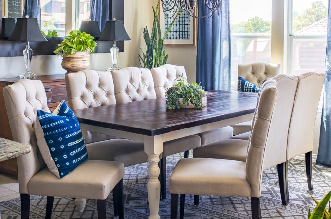 How to build a DIY farmhouse table - free plans by Jen Woodhouse